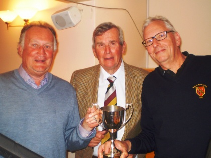 PSC Nomads Chairman Peter Terry presents the PSC Nomads trophy to Jeremy Picton & Charles Reeves